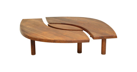 Pierre Chapo Model T22 L'Oeuil elm coffee table, 1960s, offered by Bloomberry