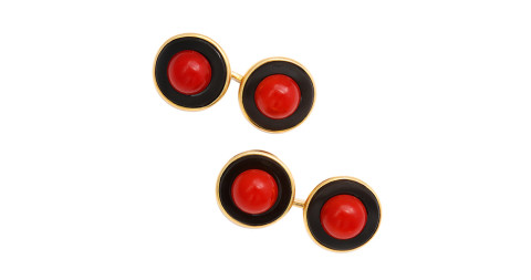 Coral and enamel double cufflinks, offered by A La Vieille Russie