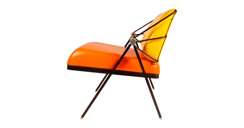 Orange and yellow lounge chair by Gaston Rinaldi, offered by Art1