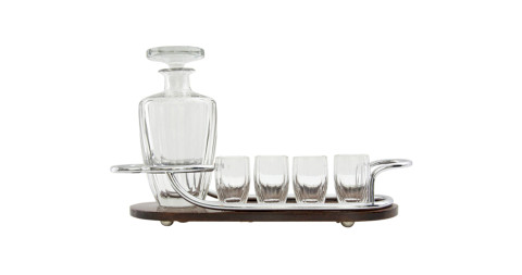 Art Deco bar set with rosewood-and-silver serving tray, 1920s, offered by Coach House
