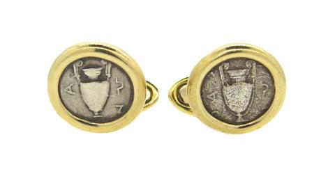 Ancient-coin cufflinks, offered by Oak Gem