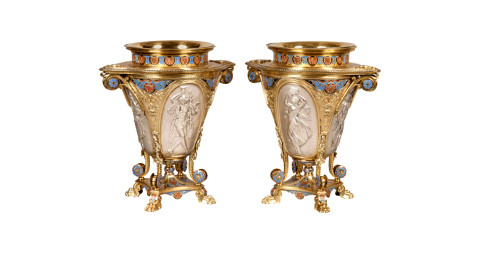 Pair of Elkington parcel-gilt-silver and enameled wine coolers, 1862