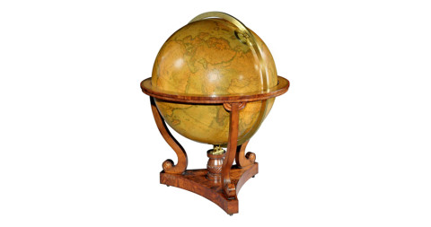 Terraqueous library globe, ca. 1840, by John Addison and G & J Cary