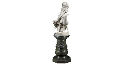 Carved-marble statue of Mary and Her Little Lamb, 19th century, by Ippazio Antonio Bortone