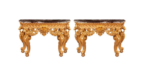 Pair of console tables, ca. 1880, in the manner of William Kent
