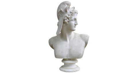 Bust of Perseus in the style of Canova, ca. 1900, offered by Barbara Israel Garden Antiques