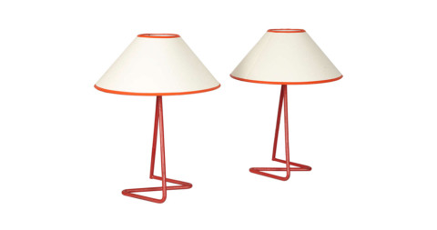Pair of Jean Royère Zig Zag lamps, offered by Galerie Edouard de la Marque