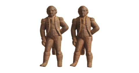 George Washington andirons, offered by Comer & Co.