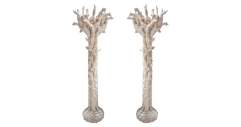 Pair of tree-shaped torchères, 1970s, offered by Robert Massello Antiques