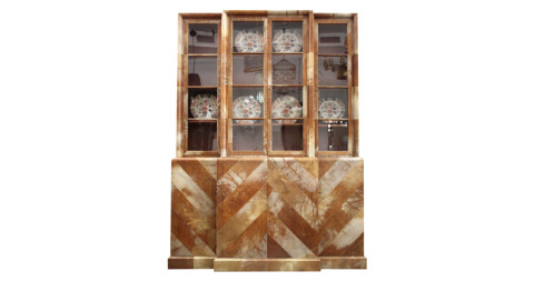 Samuel Marx parchment cabinet, 1940s, offered by Downtown