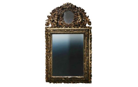 Buchardt Precht Swedish Baroque Mirror, ca. 1650, offered by Laserow Antiques