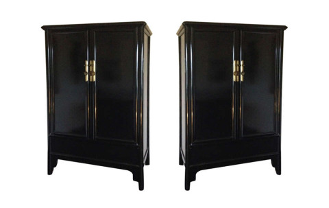 Pair of Black Lacquered Cabinets, ca. 1790, offered by Laserow Antiques