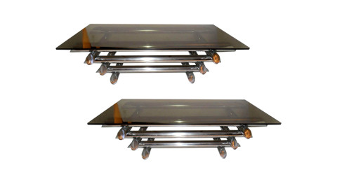 Willy Rizzo–style coffee tables, 1970s, offered by Antiquite De Flore