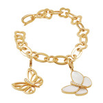 Van Cleef & Arpels mother-of-pearland gold butterfly charm bracelet, 21st century