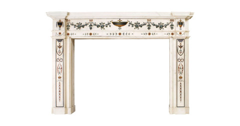 White marble fireplace with <em>scagliola</em> inlays by Pietro Bossi, late 18th century