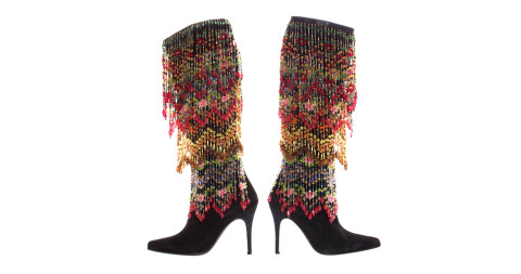 Black suede boots with polychrome beads, offered by Evolution