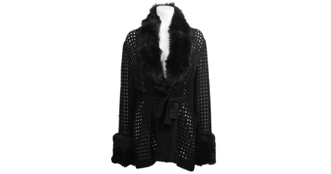 Wrap sweater with faux-fur trim, offered by Screaming Mimis