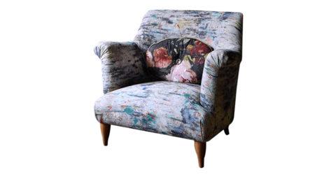 Goddard armchair in Martyn Thompson Studio Drippy fabric