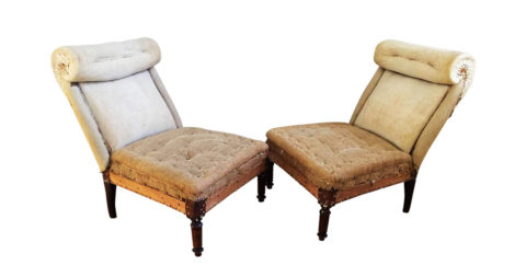 French scroll back slipper chairs, 1890s, offered by Garden Variety Design