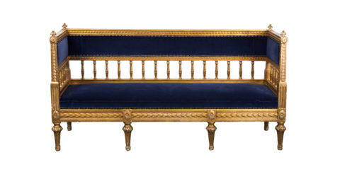 Gilded Swedish sofa, 1790–1810, offered by Laserow Antiques