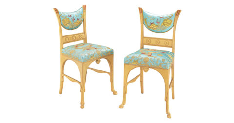Herter Brothers Pompeiian side chairs, ca. 1880, offered by Associated Artists