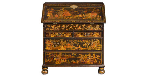 Chinese lacquered writing bureau, ca. 1720