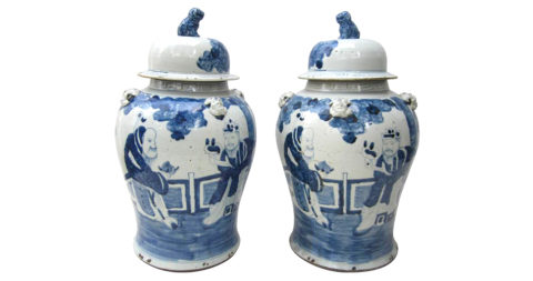 Chinese blue-and-white porcelain jars, mid-20th century, offered by JED