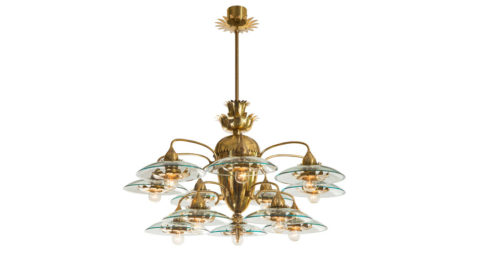Pietro Chiesa for Fontana Arte chandelier, ca. 1950, offered by H.M. Luther