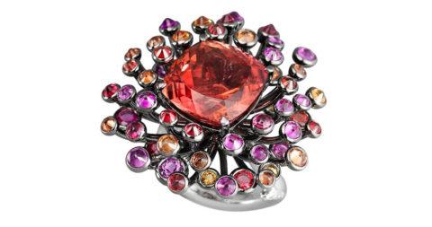 Lorenz Bäumer tourmaline, sapphire, diamond and gold Chardon ring, 2008, offered by IDEAL
