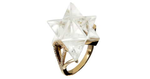 Tessa Packard carved-rock-crystal, diamond and gold Star ring, 2016, offered by Tessa Packard London