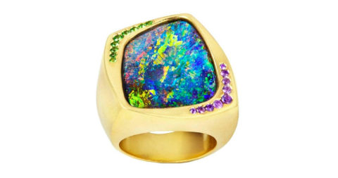 Katherine Jetter boulder opal, sapphire and gold ring, 2016, offered by Katherine Jetter