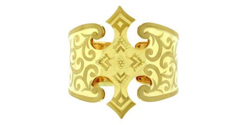 Crevoshay hand-engraved gold cuff bracelet, 2013, offered by Crevoshay