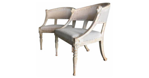 Gustavian armchairs, ca. 1870, offered by Maison & Co.