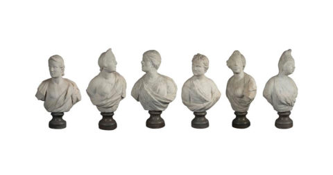 Commedia dell'Arte busts, 1720, by Antonio Bonazza, offered by Bernd Goeckler