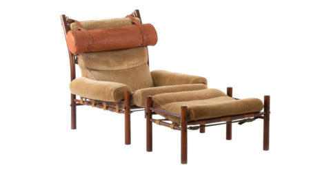 Arne Norell Inka lounge chair and ottoman, 1960s, offered by Nordlings