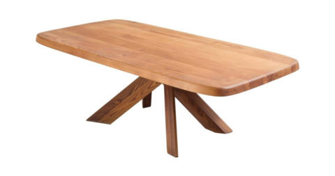 Pierre Chapo Patinated Dining Table Model T35D in Solid Elm, offered by MORENTZ
