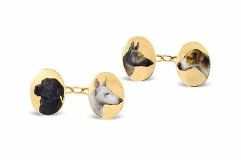 Dog cufflinks, ca. 1900, offered by Kentshire