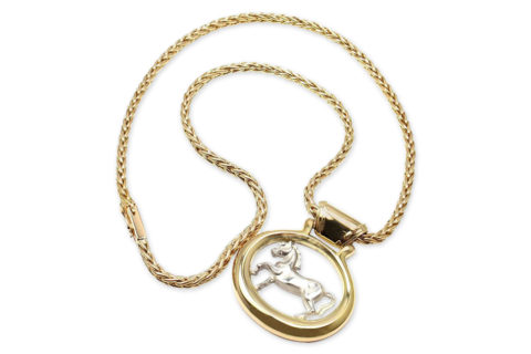 Hermès horse pendant on chain, 1979, offered by Fortrove