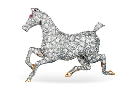 Horse brooch, 1900–10, from Shreve, Crump & Low