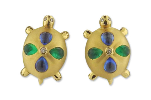 Temple St. Clair turtle earrings, 21st century, offered by Oak Gem