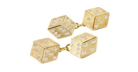 Cartier diamond and gold Dice cufflinks, offered by Bentley & Skinner