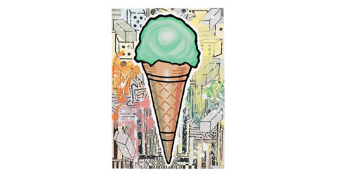 <i>Green Cone</i>, 2007, by Donald Baechler