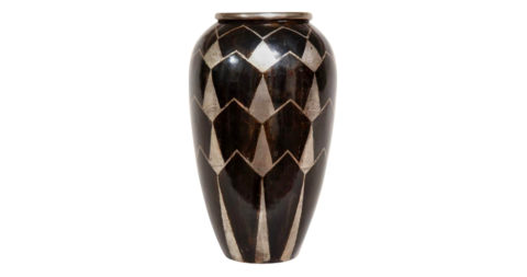 Fernand Grange French Art Deco Brass and Silver Dinanderie Vase, offered by Kelly Gallery
