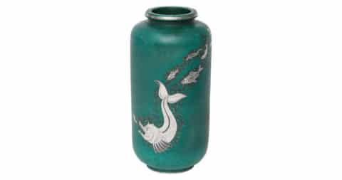 Gustavsberg & Wilhelm Kåge, Glazed stoneware and silver vase, Sweden, c. 1930, offered by Maison Gerard