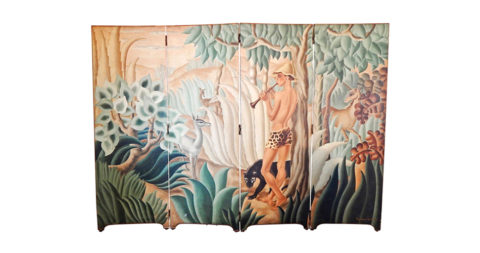 """""""Pan in Paradise,"""" Spectacular Art Deco Folding Screen by Labaye, offered by Renaissance Man Antiques"""