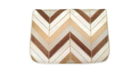 Zigzag-patchwork exotic skins handbag, 1970s, offered by Ladybug Vintage