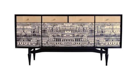 Mid-century sideboard with contemporary Fornasetti-style embellishment, 1950s/21st century, offered by Galerie Georges Bac