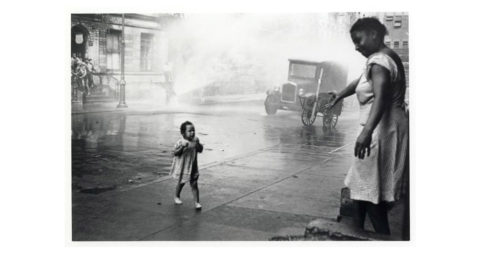 New York City (woman reaching out), 1939, by Helen Levitt, offered by Laurence Miller Gallery