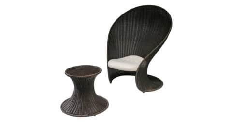 Giovanni Travasa for Vittorio Bonacina Foglia lounge chair and ottoman, 1965, offered by Compasso