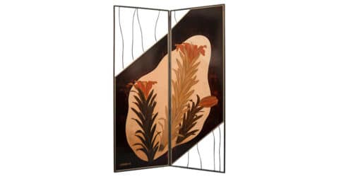 Lily Flowers Japanese lacquer two-panel screen, ca. 1915, offered by Naga Antiques Ltd.